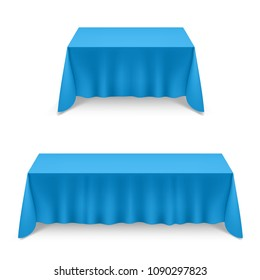 Two Empty Big Banquet Table Covered with Blue Tablecloth