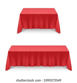 Two Empty Big Banquet Table Covered with Red Tablecloth