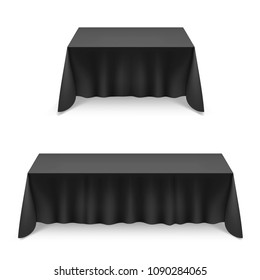 Two Empty Big Banquet Tables Covered with Black Tablecloth