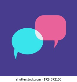 two empty phrase bubbles on a blue background. vector illustration. cloud of words, message, dialogue.