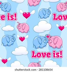 two enamored baby elephant vector seamless pattern vector format