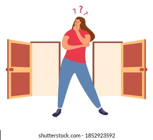 Two entrance choice. Girl question mark choosing between two doors.Woman standing choice of ways.Female choices concept.Vector flat.