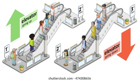 Two escalators with passengers going up and going down, view from ground level (isometric illustration)