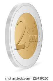 two euro coin on a white background. Vector illustration.
