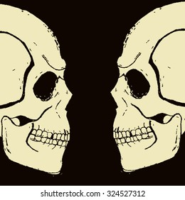 Two evil white hand-drawn skull in profile, looking each other in the dark. All isolated.