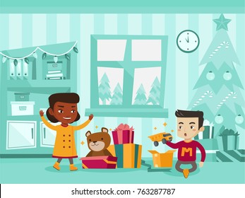 Two excited biracial sister and brother opening Christmas gifts under a Christmas tree on Christmas eve at home. Caucasian white and African kids unwrap christmas presents. Vector cartoon illustration