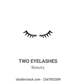 Two eyelashes outline vector icon. Thin line black two eyelashes icon, flat vector simple element illustration from editable beauty concept isolated on white background