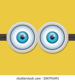 Two eyes glasses or goggles. Cartoo, sight design, pop-eyed funny. Vector illustration