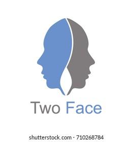 Two Face Logo Vector Template Design