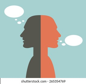 Two faced head. Talk and think concept.