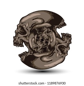 Two faces circular screaming skull echoed smaller inside. Vector hand drawn illustration.