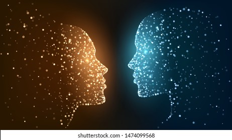 Two faces of luminous particles, orange and blue face, fire and ice, opposites