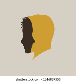 Two faces in one. Vector sign abstract dual personality,  duplicity concept