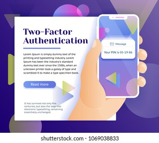 Two factor authentication web banner concept. Verification code message. Smartphone with SMS code. Man with phone in hand. Access protection and security verification. Vector image