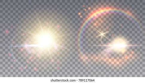 Two fairy suns with light effects. Rainbow, lens flare and colorful particles.