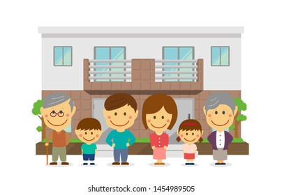 two families home / duplex home. 3 generation happy family (asian). flat vector llustration.