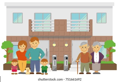 two families home / duplex home. 3 generation family illustration.