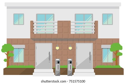 two families home / duplex home. Image illustration.