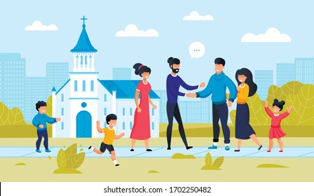 Two Family Friend Meeting at City Church Building. Parent with Children Outside. Religion Architecture Design. Friendship Support at Famous temple landmark. People Conversation. Vector Illustration