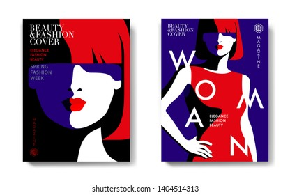 Two fashion magazine cover designs.  Abstract portraits of young woman, full face. Text, dark background. Vector illustration