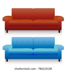 Two fashionable realistic couch (blue and brown), cartoon on white background, vector