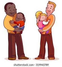 Two fathers with children in their arms. Element cards for Father's Day. Vector illustration on a white background.