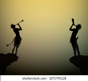 two fauns playing trumpet at the edge of the rock in the summer night, vector