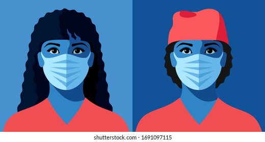 Two female avatars. Woman as doctor or nurse. Female characters in medical uniform and face masks. Concept of corona-virus. Vector illustration