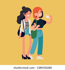 Two female best friends having great time together. Two cheerful adult girls standing taking selfie with smartphone. Girl friendship flat vector illustration with two female characters holding hands