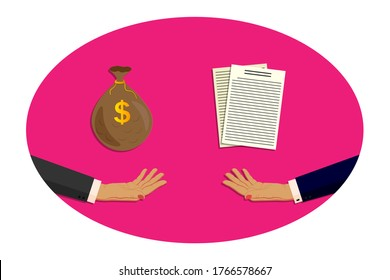 Two female, businesswoman hands in business suits. One hand holds out, gives and lends a bag of money, dollars. The second hand gives signed papers, documents. Deposits, loans, credit, banking. Vector