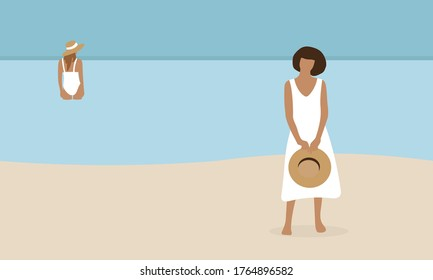 Two female characters on the beach