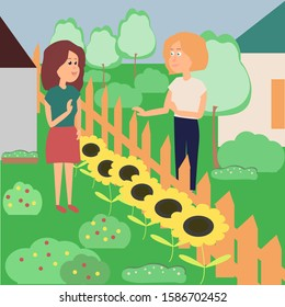 Two female neighbors talk through the fence of their homes. Acquaintance of neighbors. Vector stock illustration