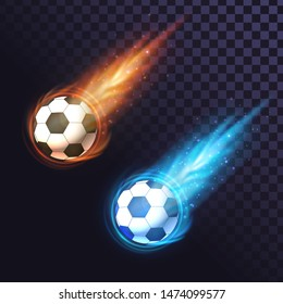Two fiery soccer balls on a transparent background, goal scoring, soccer