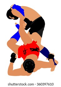 Two fighters in ring vector illustration.