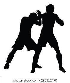 Two fighters in ring vector silhouette illustration.Fight Fighter Muay Thai Boxing Karate Taekwondo Wrestling Kick Punch Grab Throw People
