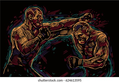 Two fighting man  aggressive fight vector illustration on black background