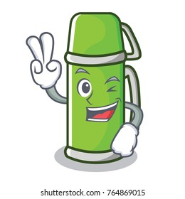 Two finger thermos character cartoon style