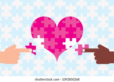 Two fingers moving puzzle of heart International marriage