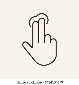 Two fingers tapping on screen line icon. Web app, smartphone, hand gesture. Touchscreen concept. Vector illustration can be used for topics like interface, mobile phone, technologies
