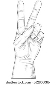 two fingers victory sign
