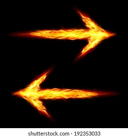 Two fire arrows pointing in opposite directions on black background