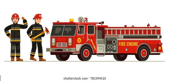 two firefighter with fire truck in flat style vector illustration