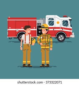 Two firefighter officers in personal protecting equipment standing in front of fire engine truck. Cool vector characters on firemen rescue workers male characters in flat design