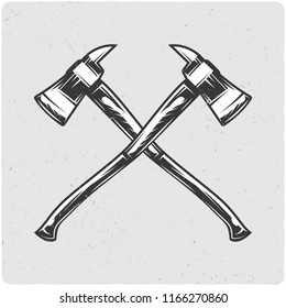 Two firefighter's axes. Black and white illustration. Isolated on light backgrond with grunge noise and frame.