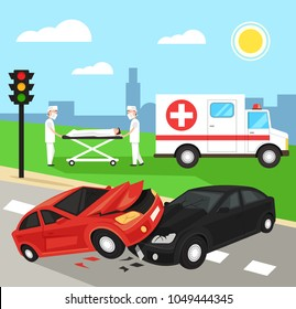 Two first aid doctors carry the victim patient on stretchers after car road accident disaster. Ambulance emergency medicine hospital car. Automobile crash damage drunk driver concept. Vector flat