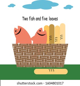 Two fish and five loaves in basket