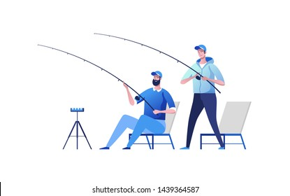 Two fisherman at river bank. Fishing sport, outdoor summer recreation, leisure time. Vector illustration.