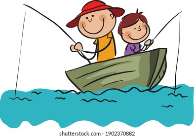 Two Fishermen with Fishing Rods on Boat stock illustration , Stick Figure Men fishing vector