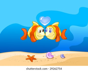two fishes in love (editable layers)