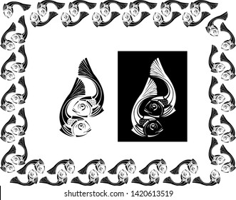 Two fishes together Border design concept - Scroll saw, Tattoo, T shirt design, wall sticker or Intarsia Pattern with dark and white background